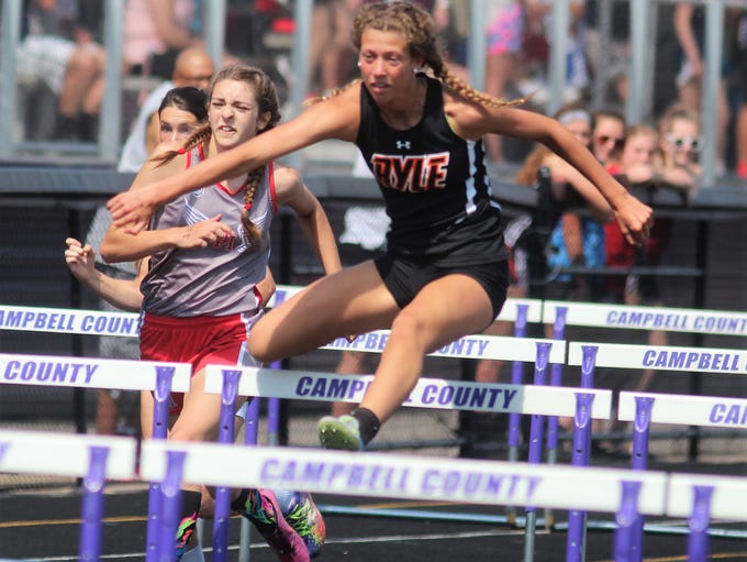 Ryle senior Maddie Bloemer in the 100 hurdles  during