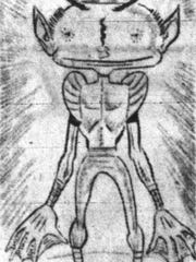 Sketch by Evansville Press of the reported Hopkinsville goblin.