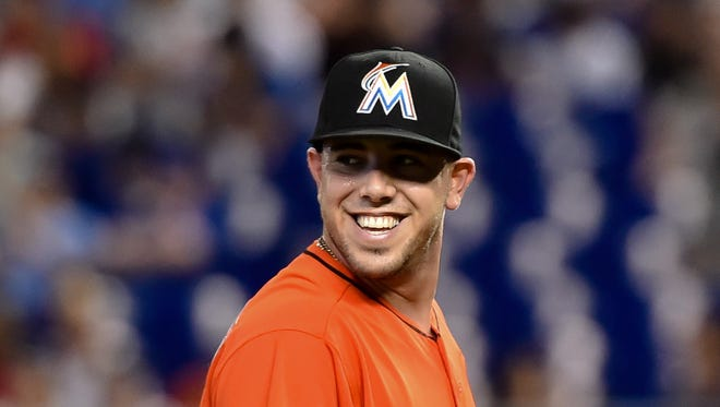 Miami Marlins starting pitcher Jose Fernandez (16) smiles during a game against the New York Mets at Marlins Park. The Marlins won 1-0.