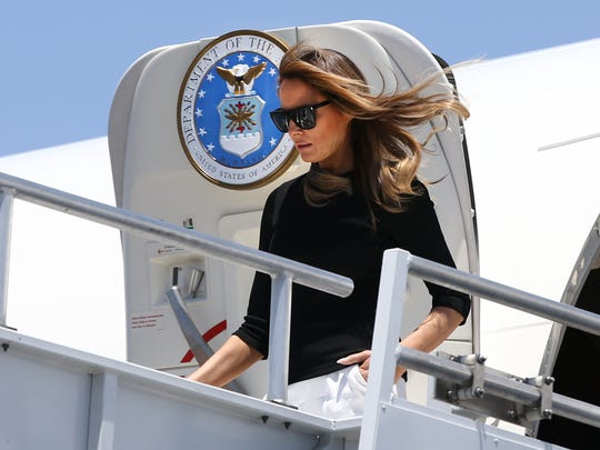 First lady Melania Trump arrives at Sky Harbor International Airport on June 28, 2018, in Phoenix.