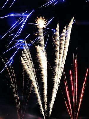 Fireworks light up the sky above Nelson Park on July 4, 2012 during the Independence Day celebration.