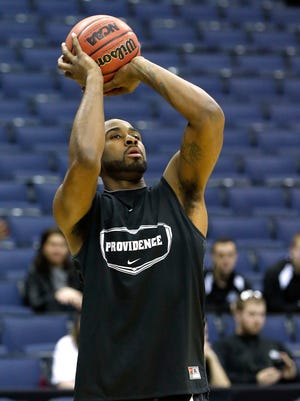 Providence forward LaDontae Henton shoots during practice at Nationwide Arena.