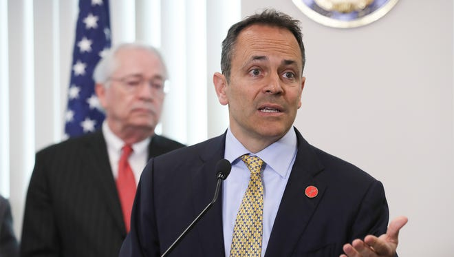 Governor Matt Bevin makes remarks praising Hal Heiner's service speaking of his appointment to the Kentucky Board of Education.April 17, 2018