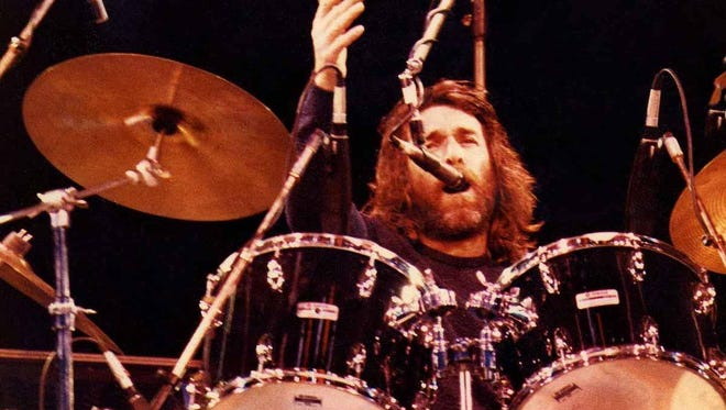 Dennis Wilson of the Beach Boys performs on June 21, 1980, on stage at Knebworth in London, England.