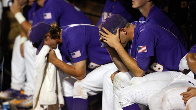 Jun 27, 2017; Omaha, NE, USA; LSU Tigers players react during the game against the Florida Gators in game two of the championship series of the 2017 College World Series at TD Ameritrade Park Omaha. Mandatory Credit: Bruce Thorson-USA TODAY Sports