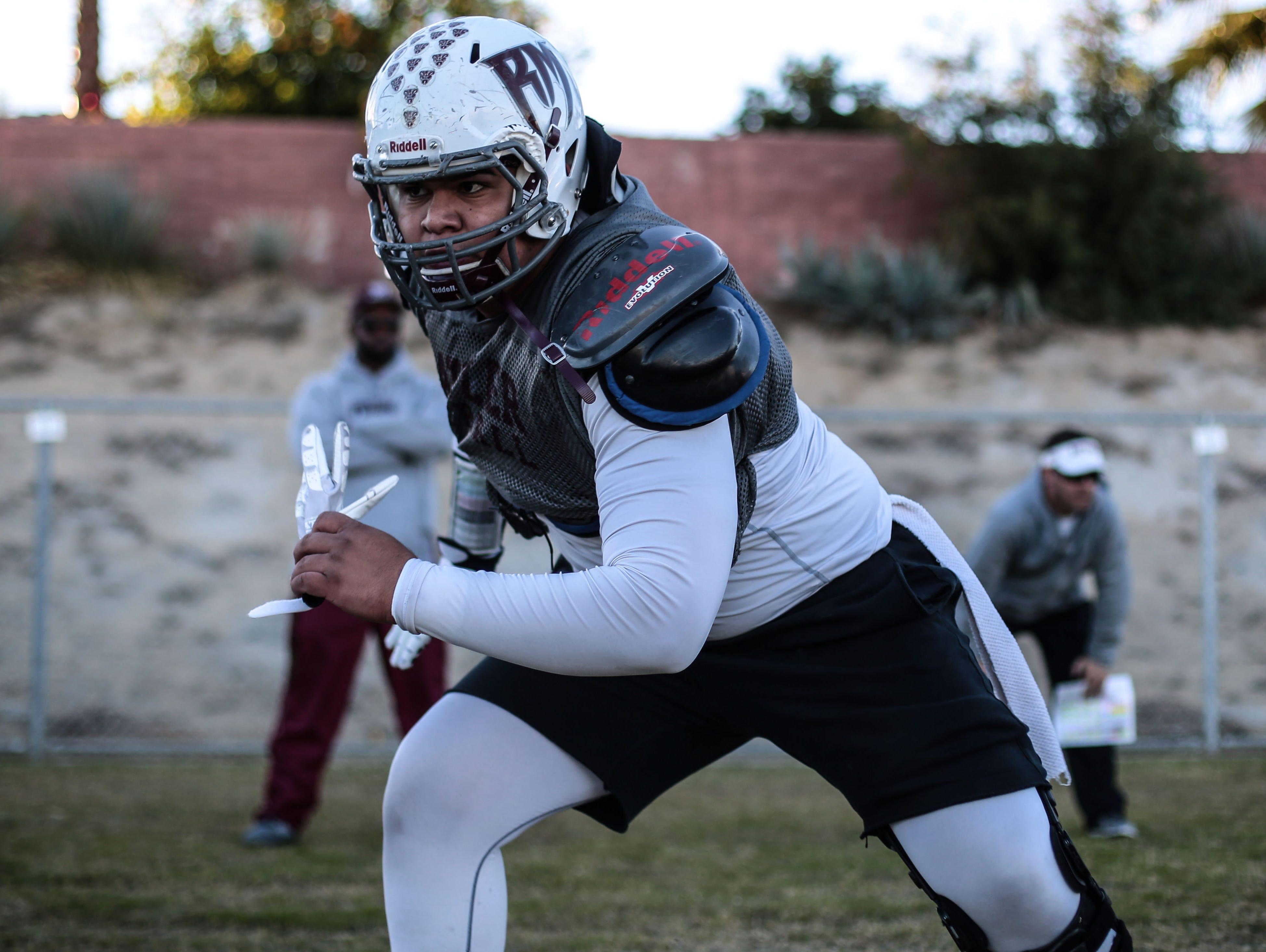 Rancho Mirage High School lineman Jonnathan Avila at practice on Wednesday, November 30, 2016.