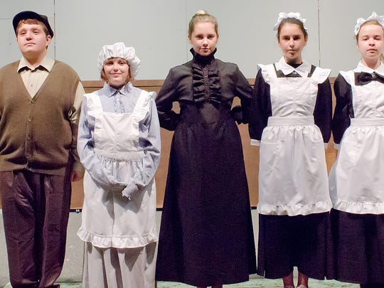 "The cast of CFABS Youth Theater's production of ""The Secret Garden."" (From left to right: Tony Garrido-Giambo, Gianni Gizzi, Addison Smith, Ashley-Taylor Gurwell, Erica Guilbault, Katrina Kusa,  and Macie Hayes"