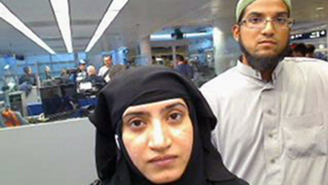 Tashfeen Malik, left, and Syed Farook in Chicago in 2014.