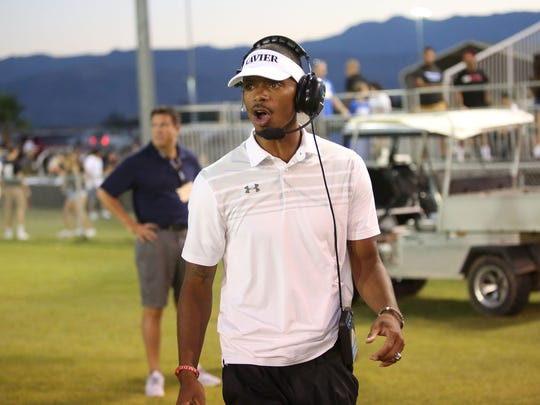 Head Coach James Dockery coaches for the Xavier Saints against Notre Dame, August 25, 2016.