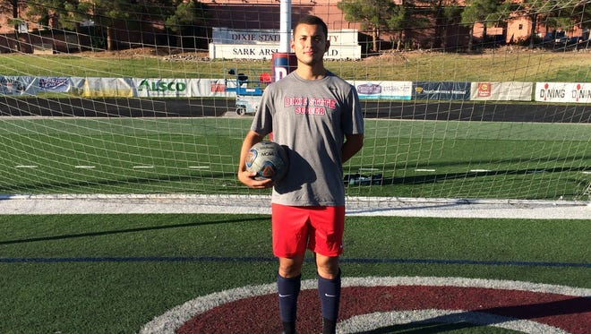 Dixie State's Jorge Echavarria has helped Dixie State to one of its best starts in school history as the Red Storm sit alone in first place in the Pacific West Conference.