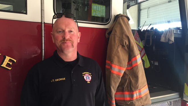 Les George, a Zanesville firefighter, suffers from pre-cancerous skin spots on various parts of his body. He said the risk of disease is troublesome, but that he came to the job knowing danger would be a factor.