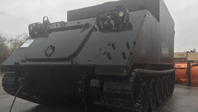 The Macomb County Sheriff's Office is expected to return this tracked armored vehicle to the military on Dec. 4, under an executive order by President Barack Obama. It has been approved to receive a Mine Resistant Ambush Protected vehicle, or MRAP, which has wheels instead of tracks,