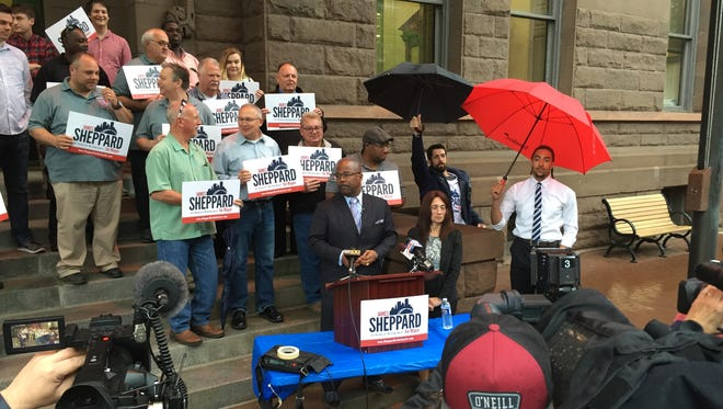 Democratic mayoral candidate James Sheppard released his campaign platform Monday during a news conference at City Hall.