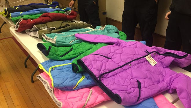 Students had the opportunity to pick the color of their free jacket at the Operation Warm event in Great Falls.
