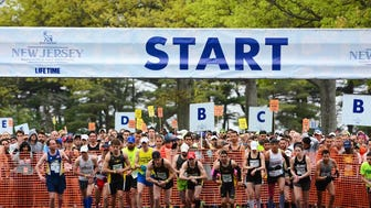 Monmouth Park racetrack in Oceanport hosted the start of the New Jersey Marathon on Sunday morning.