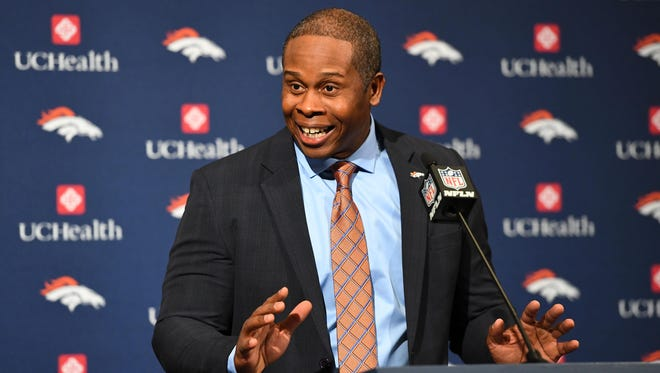 Denver Broncos head coach Vance Joseph speaks during a press conference at UCHealth Training Center.