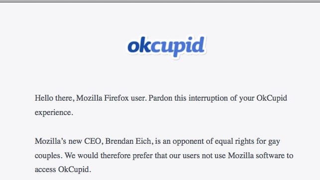 OkCupid letter that appears when users try accessing the site using Mozilla Firefox.