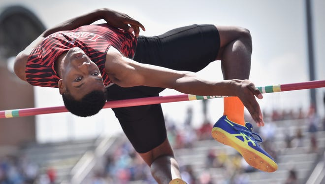 La Salle's Cameron Willis clears 6 feet 4 inches in the boy's high jump Saturday, June 2nd at the State Track and Field Championships at Jesse Owens Memorial Stadium