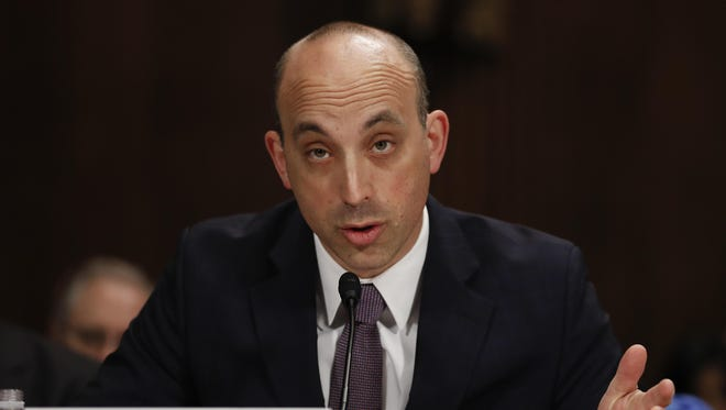 In this May 2, 2017 file photo Jonathan Greenblatt, CEO and National Director of the Anti-Defamation League, speaks on Capitol Hill in Washington. Far-right extremists have ramped up an intimidating wave of anti-Semitic harassment against Jewish journalists, political candidates and others ahead of next month's U.S. midterm elections, according to a report released Friday, Oct. 26, 2018 by the Anti-Defamation League.