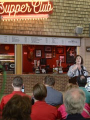 Tourism Secretary Stephanie Klett speaks at the opening of the Travel Wisconsin Supper Club concession stand at Lambeau Field, July 29, 2016.