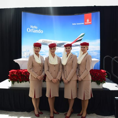 Emirates airline shows off its Airbus A380 in Orlando
