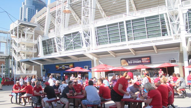 Fans gather in the Reds Fan Zone at GABP.