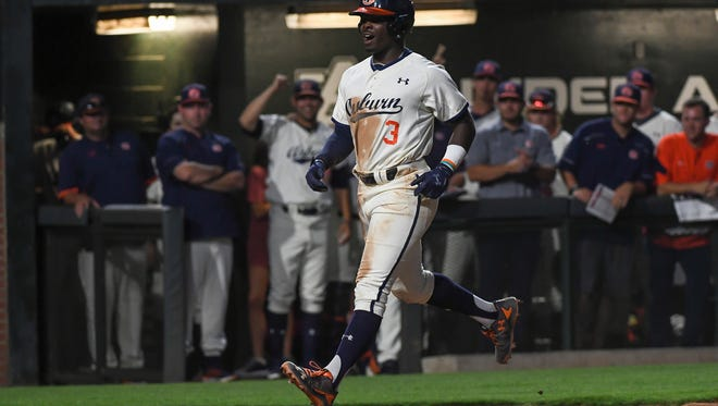 Auburn third baseman Josh Anthony was 3 of 4 with 4 RBIs including his first home run of the 2017 season in a 15-2 win over No. 14 Arkansas on Friday, April 21, 2017 in Auburn, Ala.