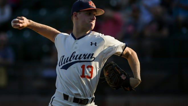 Davis Daniel Auburn baseball vs Ole Miss on Friday, May 19, 2017, in Auburn, Ala.