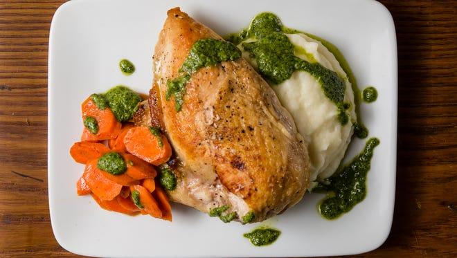 Roasted chicken with arugula pesto
