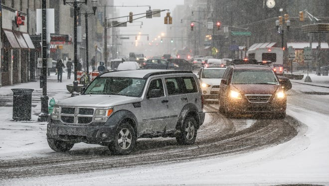Afternoon snowfall on Friday, Dec. 29, 2017 made for potentially hazardous road conditions during the evening commute. Several Central Indiana counties were under travel advisories by 6 p.m.