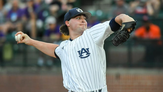Auburn pitcher Tanner Burns gets the win while throwing on short rest in a 11-4 win on May 17, 2018.