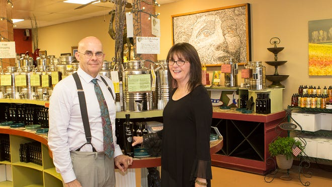 Stan Pengelly and Pam Shaia of From Olives and Grapes are the go-to people in Brevard for all things olive oil and balsamic vinegar.