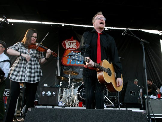 Flogging Molly, on stage at the Vans Warped Tour at