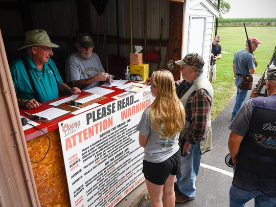 Shooters signed up for the different events offered during the Hasty-Silver Creek Sportsmen's trap shoot Monday, Sept. 4, in Silver Creek.