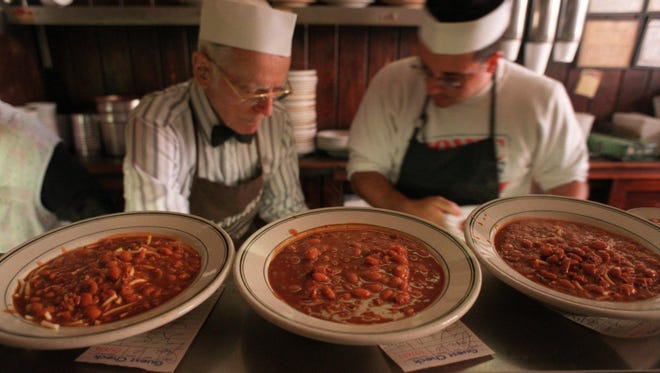 Frank Varallo, Jr. worked the chili line at his family restaurant for more than 70 years.