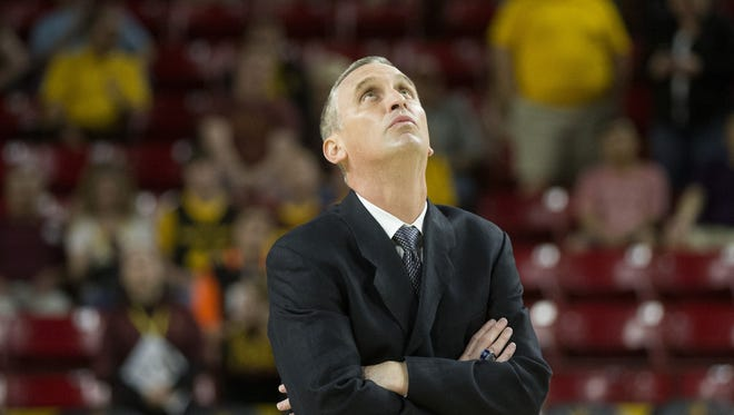 Arizona State head coach Bobby Hurley watches the video board during a men's basketball game against California at Wells Fargo Arena in Tempe on March 5, 2016.