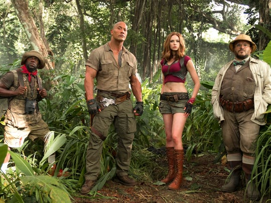 Kevin Hart (from left), Dwayne Johnson, Karen Gillan