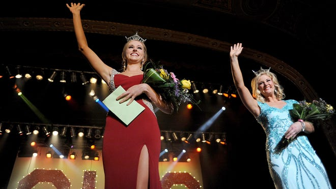 Miss Miami Valley Sarah Clapper won the preliminary swimsuit contest Thursday evening and Miss Lake Festival Emily Werling won the talent portion during the Miss Ohio Scholarship Program at the Renaissance Theater in Mansfield.