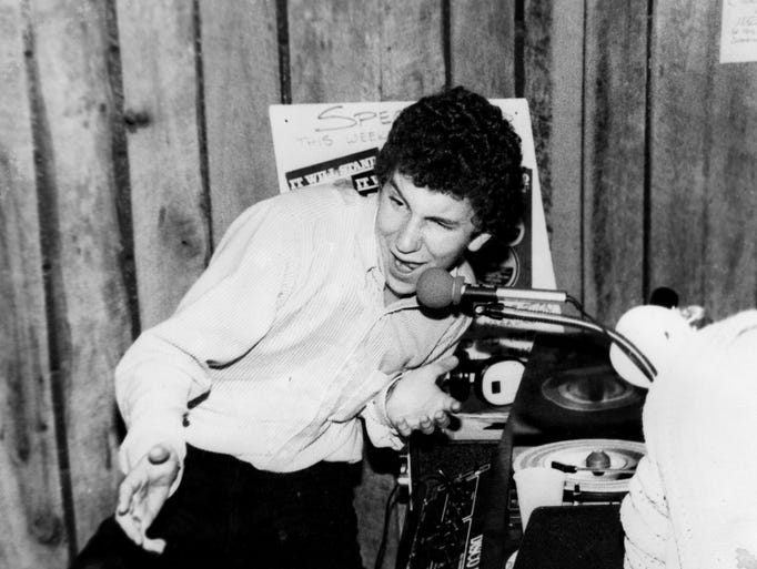 Phil Valentine in 1979 spinning records at Johnny Dollar's