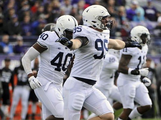 Penn State defensive end Carl Nassib (95) during an NCAA college football game against Northwestern in Evanston, Ill.,  Saturday, Nov. 7, 2015.