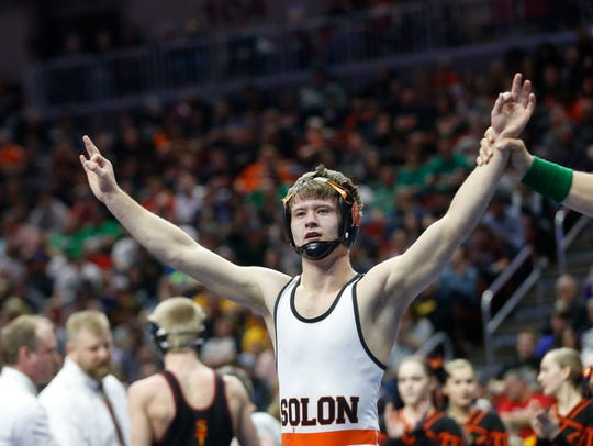 Solon's Bryce West wins the class 2A, 120-pound title match Saturday, Feb. 18, 2017, in the state wrestling finals at Wells Fargo Arena in Des Moines.