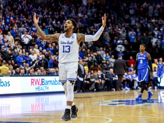 Seton Hall Pirates guard Myles Powell (13) celebrates against the Creighton Bluejays during the second half at Prudential Center.