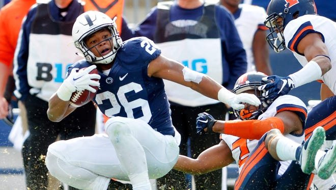 Penn State Nittany Lions running back Saquon Barkley was named to the Sporting News freshman All-America team on Wednesday.