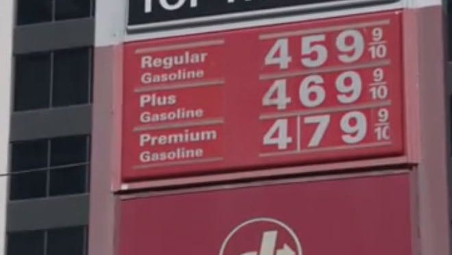 Gas prices are spiking in Los Angeles, like here at a 76 station Monday near Los Angeles International Airport
