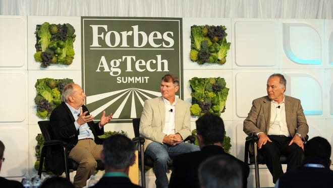 """From left, Harold McClarty, Samuel Duda and Tom Nassif during the """"Labor's Next Frontier"""" panel at the 2016 Forbes AgSummit in Salinas on Thursday."""