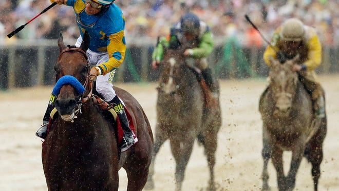 Jockey Victor Espinoza celebrates aboard American Pharoah after winning the Preakness Stakes after rolling in the slop at Pimlico  in Baltimore.