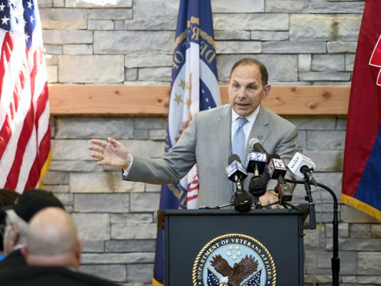 Secretary of Veterans Affairs Robert A. McDonald speaks Friday at a ribbon-cutting ceremony for the Lebanon VA Medical Center's new Center for Veterans Enterprise. The center, located on the campus at 1700 S. Lincoln Ave., will offer vocational rehabilitation, mental health intensive case management and psycho-social issues of rehabilitation and recovery.