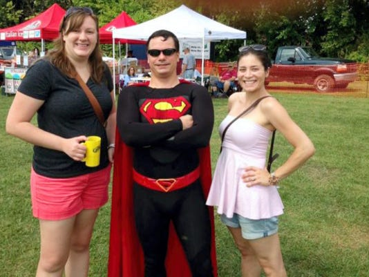 Kate Harmon (left) met Superman (he's the guy in the middle) at the Hanover Chili Cook Off, AND she balanced chili, beer and a humid day. She shares her tips on how to do it.
