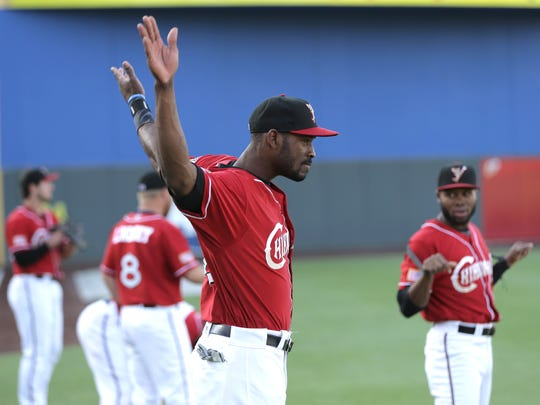 Chihuahuas outfielder Jabari Blash stretches prior to Friday's game against Salt Lake at Southwest University Park.