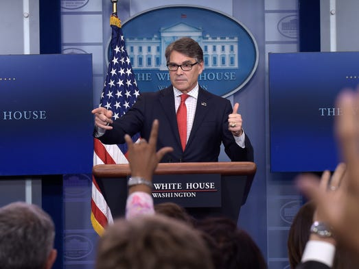 Perry speaks during the daily briefing at the White